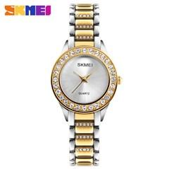 SKMEI Fashion Watch Stainless Steel Strap Quartz Watch Ladies Waterproof Casual Wristwatch gold 25cm