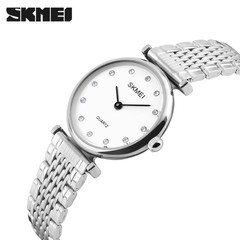SKMEI Women Watches Casual Dress Girls Wristwatches Rhinestones Waterproof Ladies Watch white 22cm