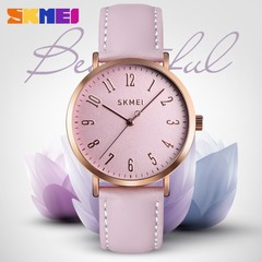 SKMEI Women Watches Leather Strap Wristband Female Waterproof Quartz Watch Ladies Wristwatch purple 22cm