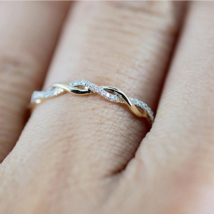 Women Rings Lady Twist Classical Wedding Engagement Rings Austrian Crystals Ring Lover Gift Jewelry rose gold 9