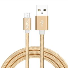 Android Phone Micro USB Type-C iPhone Data Cable Ultra Durable Nylon Wire Metal Plug Data Sync Type C Gold 1M