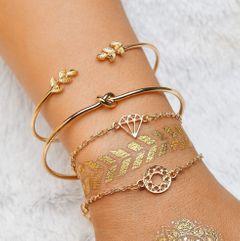 4 pcs/set Women Bracelets Fashion Bohemia Leaf Round Women Simple Geometric Bracelets gold 20cm