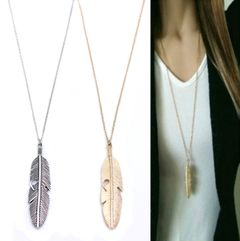 Women Necklaces Simple Classic Pendants Necklaces Feather Long Sweater Chain Statement Jewelry silver 40cm