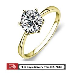 Women Rings Classic Six Claw Austria Crystal Wedding Rings Gifts For LoverJewelry Engagement Ring gold 8