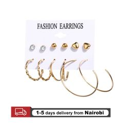 12pcs/Set Acrylic Earrings Women Bohemian Earrings Big Dangle Drop Earring Jewelry gold one size