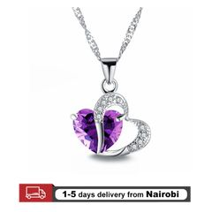 Hot Sale Women Necklaces Fashion Lady Pendants Crystal Heart Girls Jewelry Lovers Gift Purple 44