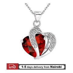 Women Necklaces Lady Pendants Crystal Heart Girls Jewelry Lovers Gift Red 44