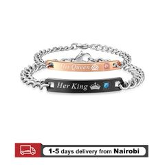 Couple Bracelets Men Bracelets Women Bracelets Chain Crystal  On Hands Jewelry Lovers Gift His Queen+Her King 22cm