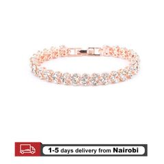 Roman Fashion Women Bracelets Crystal Lady Bracelet Ring Luxury Jewelry Lover Gift Rose Gold 16.5cm