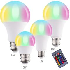 Home Led Lighting Lamp Bulb RGB Dimmable 5W/10W/15W RGBW Colorful Changing Bulb Home Decor Party Light White one size 5W