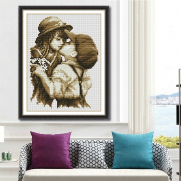 Embroidery Cartoon Kiss Handmade Needlework Cross Stitch Set Cross-Stitching Home Decoration colorful 30cmX40cm
