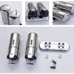1000ml Twin Stainless Steel Soap Dispener Hand Dispenser Wall Mounted stainless steel 241mmx216mmx100mm