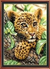 Small leopard Cotton Silk  Cross Stitch Kits 100% Printed Embroidery DIY Handmade Needlework colorful 30cmX38cm