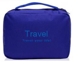 Multifunctional  Portable Wash Bag Storage Organizer Bag Travel Toiletries Cosmetic  Storage Bag blue 22x16x7cm