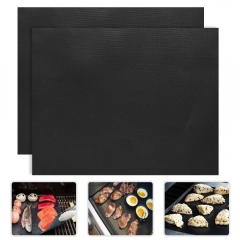 2pcs Durable BBQ Grill Mat Black Color Barbecue Grill Mat Nonstick Bakeware Sheet Pad Easy Clean BBQ black 330mmx400mm