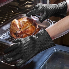 2Pcs Heat Resistant Thick Silicone Barbecue Gloves