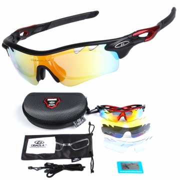 POLARIZED Sports Sunglasses Cycling Glasses with 5 Interchangeable Lenses black
