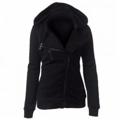 2017 new hot selling women's dress coat leisure pure color four-color slanted zipper hoodie Black m