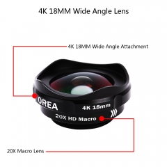 OREA SY10 Super Wide Angle and Macro Lens for Smart Phones 4K HD Lens (one clip for free) black 22*6*17mm