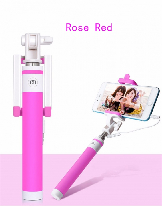 Macaron Wired Selfie Stick for Smart Phones rose red one size
