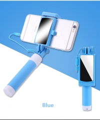 Foldable Selfie Stick With Mirror for Smart Phones blue one size