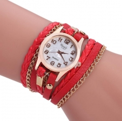 Multilayer Braided Bracelet With Watch Decorations red onesize