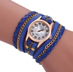 Multilayer Braided Bracelet With Watch Decorations blue onesize