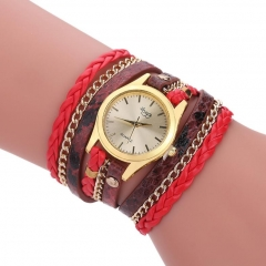 Rope Braided Multilayer Bracelet with Quartz Watch for Women red onesize