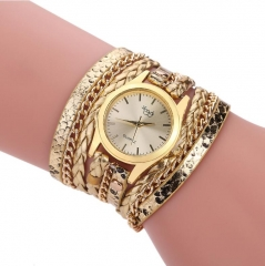 Rope Braided Multilayer Bracelet with Quartz Watch for Women gold onesize