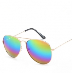 Classic Fashion Metal Reflective Sunglasses Unisex Multicolor one size