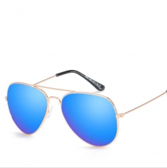 Classic Fashion Metal Reflective Sunglasses Unisex blue one size