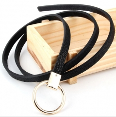 Fashion Belts for Women Imitation Leather Metal Buckle Straps-Black