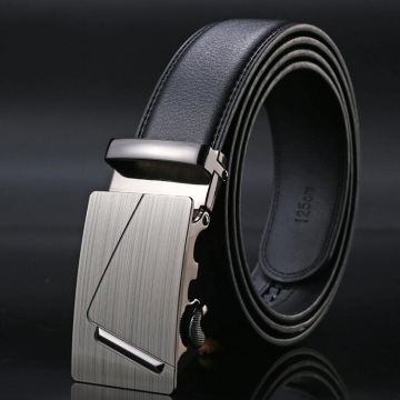 Automatic Buckle Belts For Men PU Leather Strap with Metal Buckle #1 one size