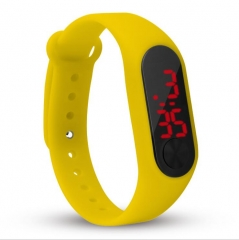 LED Digital Watch Men Women Electronic Wristwatch yellow