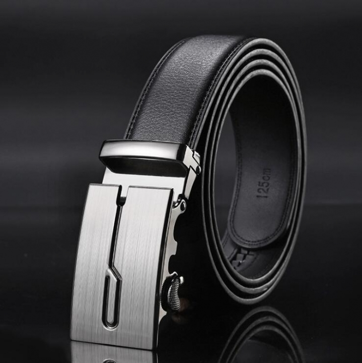 Automatic Buckle Belts For Men PU Leather Strap with Metal Buckle #2 one size