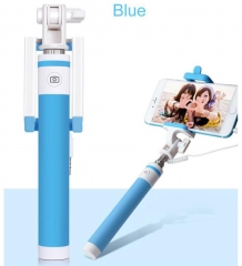 Macaron Wired Selfie Stick for Smart Phones blue one size