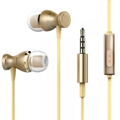 V-tek Original Gold Magnetic In-Ear Earphone With Microphone for Media Players and Phones,Model V02 gold