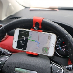 Universal Car Steering Wheel Clip Mount Holder for Mobile Phone red+black one size