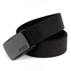 Solid Color Webbing Casual Canvas Waist Belt for Men and Women, with Automatic Buckle black one size