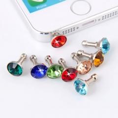 10pcs Bling Diamond Dust Plug,Universal 3.5mm Cell Phone Earphone Plug mix-color 10PCS