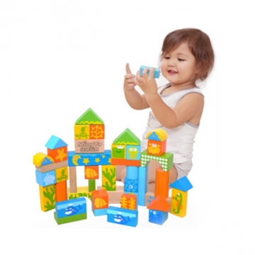 Mingta 60 pcs ocean world wooden building blocks colorful A806
