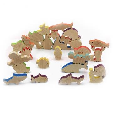 Iwood Series Carton Animals Wooden Story Blocks for Children, Dinosaur, Forest,  Sea Blocks 28PCS sea normal