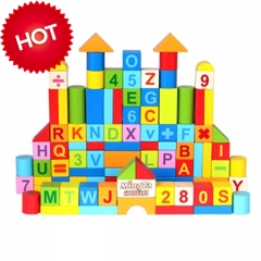 Mingta 50 pcs wooden building blocks      Ideal for building and introducing early math concepts. colorful A8146