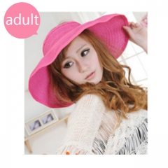 adult--Summer Foldable Crocheted Straw Hat Girls Beach Parent-child Sun Hats pink adult