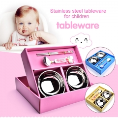Stainless steel bowl cartoon children tableware four dresses pink one size
