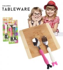 Stainless steel spork mickey Minnie custom cartoon children tableware pink&white one size