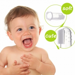 Bielybabe  Baby Toothbrush With Dust Shield Infant Soft Silicone Finger Teeth Rubber Clean Massager transparent one size