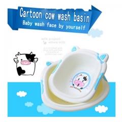 cute cow cartoon baby washbasin, thicker trumpet baby home Footbath basin wash tub blue one size