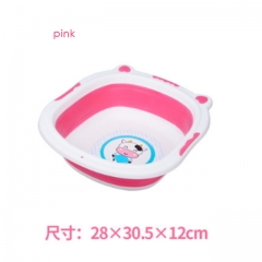 cute cow cartoon baby washbasin, thicker trumpet baby home Footbath basin wash tub pink one size