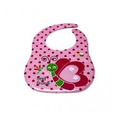 New Cartoon Pattern Silicone Waterproof Baby Bibs Convenience Health Bib pink one size